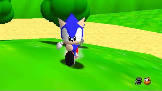 Jogo Sonic in Super Mario 64